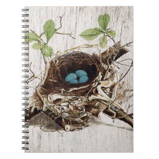vintage bird nest french botanical art notebook