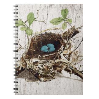 vintage bird nest french botanical art spiral notebook