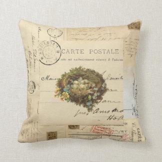 Vintage Bird Nest French Postcards Pillow