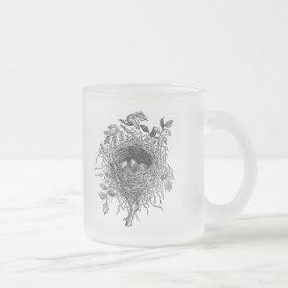 Vintage Bird Nest Illustration Frosted Glass Coffee Mug