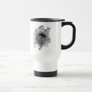 Vintage Bird Nest Illustration Travel Mug