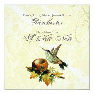 Vintage Bird & Nest Moving 13 Cm X 13 Cm Square Invitation Card