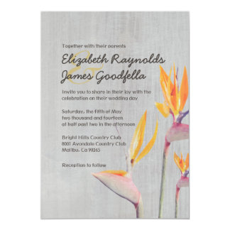 Vintage Bird of Paradise Wedding Invitations
