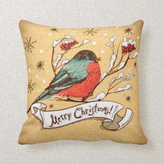 Vintage Bird on Snow Clad Branch Merry Christmas Throw Pillow