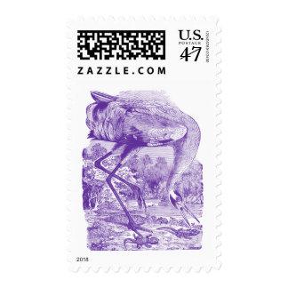 Vintage Bird Picture | Purple | Whooping Crane Postage