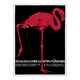 Vintage Bird Pink Flamingo at Germany Munich Zoo Posters