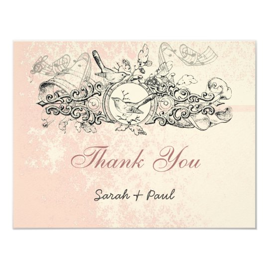 Vintage Bird Pink Musical Scroll Wedding Thank You Card