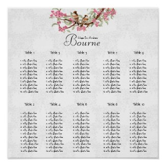 Vintage Bird Pink Seating Chart 12 Tables zazzle_print
