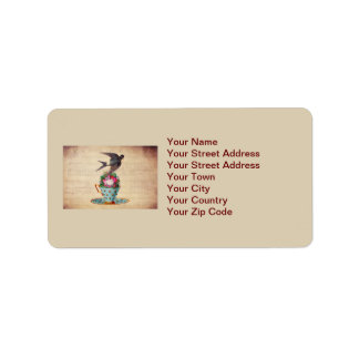Vintage Bird, Roses, and Teacup Address Label
