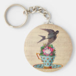 Vintage Bird, Roses, and Teacup Basic Round Button Keychain