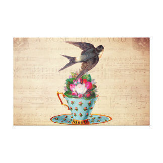 Vintage Bird, Roses, and Teacup Canvas Print