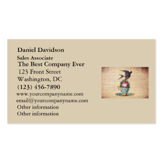 Vintage Bird, Roses, and Teacup Double-Sided Standard Business Cards (Pack Of 100)