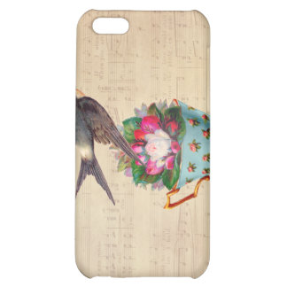 Vintage Bird, Roses, and Teacup Case For iPhone 5C