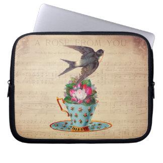 Vintage Bird, Roses, and Teacup Laptop Computer Sleeves