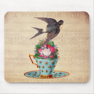 Vintage Bird, Roses, and Teacup Mouse Pad