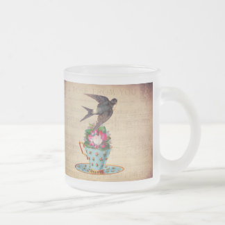 Vintage Bird, Roses, and Teacup 10 Oz Frosted Glass Coffee Mug