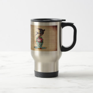 Vintage Bird, Roses, and Teacup 15 Oz Stainless Steel Travel Mug
