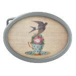 Vintage Bird, Roses, and Teacup Oval Belt Buckles