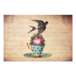 Vintage Bird, Roses, and Teacup Photo Print