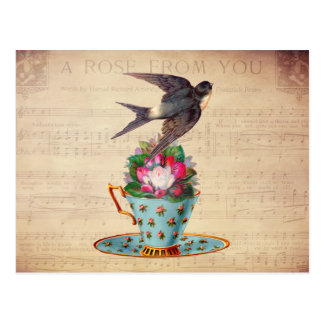Vintage Bird, Roses, and Teacup Postcard