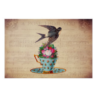 Vintage Bird, Roses, and Teacup Poster
