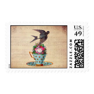 Vintage Bird, Roses, and Teacup Stamp