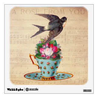 Vintage Bird, Roses, and Teacup Wall Sticker