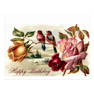 Vintage Bird Roses Birthday Postcard