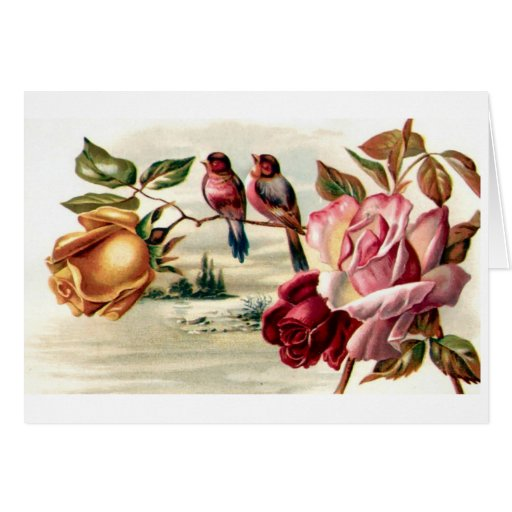 Vintage Bird Roses Card-All Occasion
