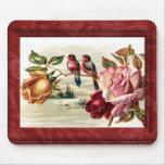 Vintage Bird Roses Mousepad