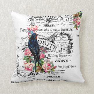 Vintage Bird, Roses, Paris Pillow