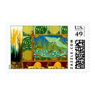 Vintage Bird Snails Art Nouveau Deco Design Motifs Stamp