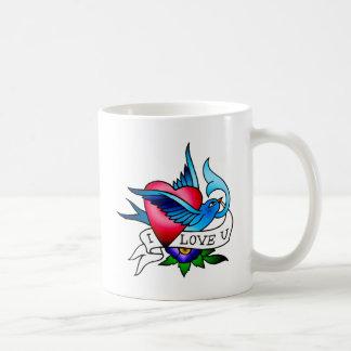 vintage bird tattoo coffee mug