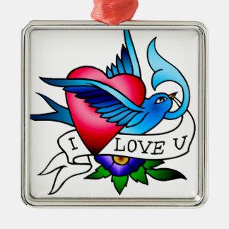 vintage bird tattoo metal ornament