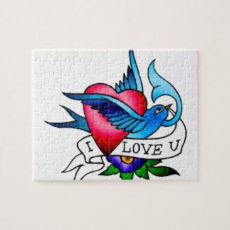 vintage bird tattoo puzzles