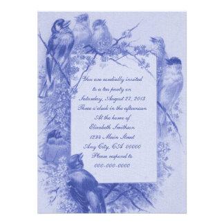 Vintage Bird Tea Party Personalized Announcement