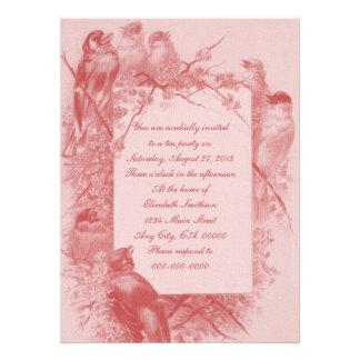 Vintage Bird Tea Party Personalized Invitation