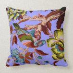 Vintage Bird Tropical Flowers Florida Hawaii Decor Pillows
