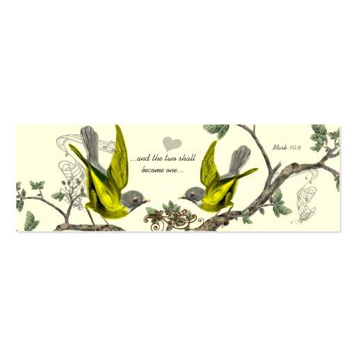 Vintage Bird Wedding Tags Business Card Templates