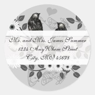 Vintage Bird White Daisies Wedding Return Address Classic Round Sticker