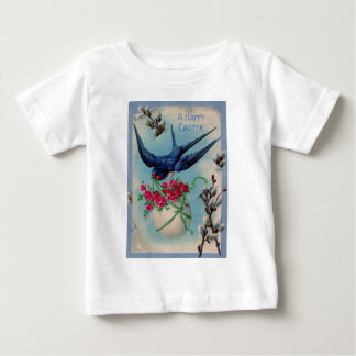 Vintage Bird With Easter Egg & Flowers Easter Card Baby T-Shirt