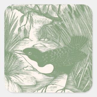 Vintage Bird Woodcut Illustration Square Sticker