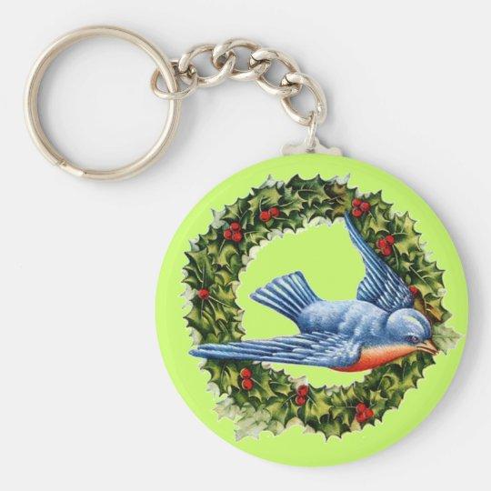 Vintage Bird Wreath Keychain