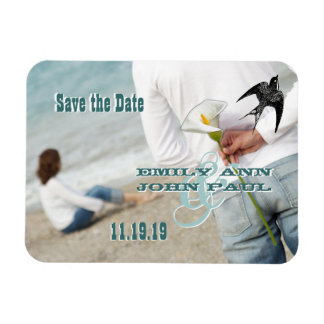 Vintage Bird Your Photo Save the Date Rectangle Magnets