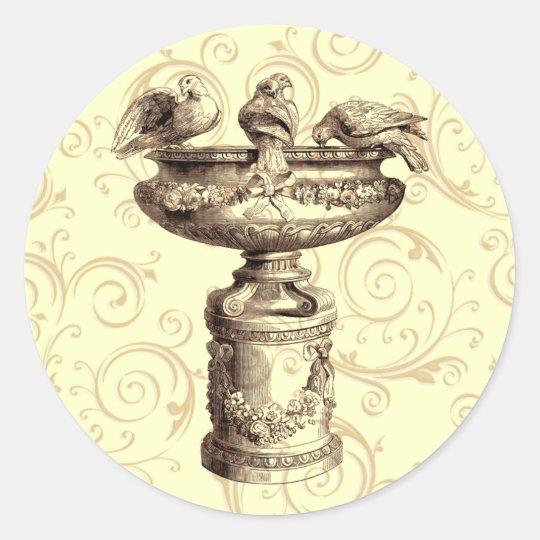 Vintage Birdbath Classic Round Sticker