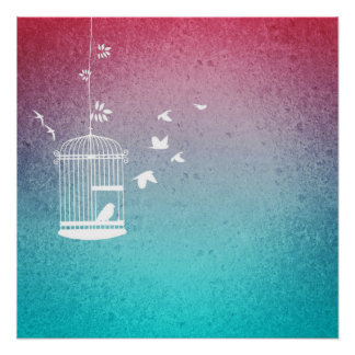 Vintage Birdcage and Birds Poster