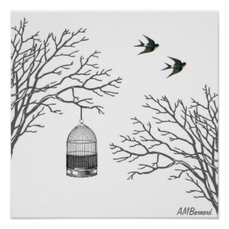 Vintage Birdcage Bare Branch Swallow Poster