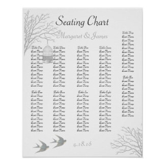 Vintage Birdcage Bare Branch Swallow Seating Chart Posters
