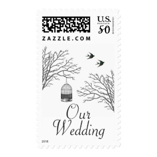 Vintage Birdcage Bare Branch Swallows Our Wedding Postage