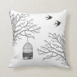 Vintage Birdcage Bare Branches Swallows Pillow